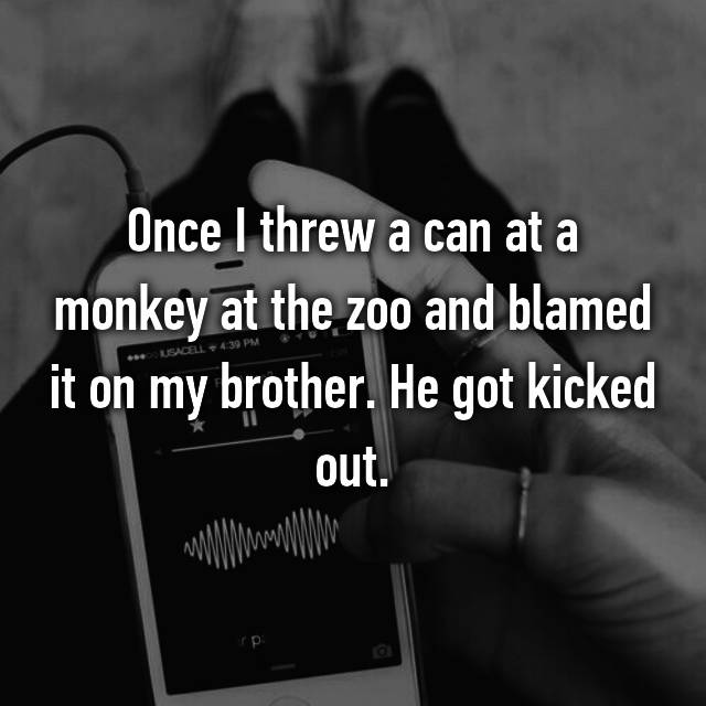 Once I threw a can at a monkey at the zoo and blamed it on my brother. He got kicked out.