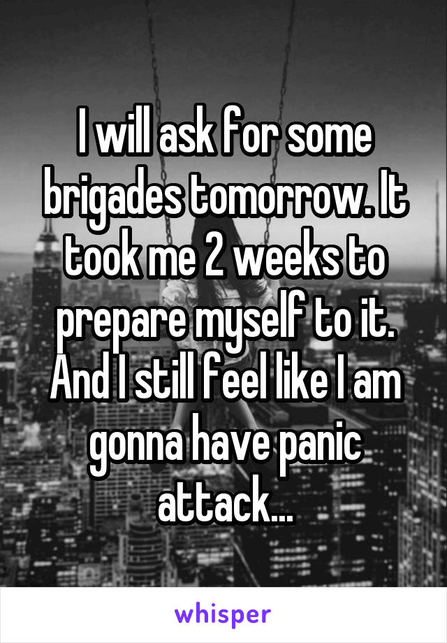 I will ask for some brigades tomorrow. It took me 2 weeks to prepare myself to it. And I still feel like I am gonna have panic attack...