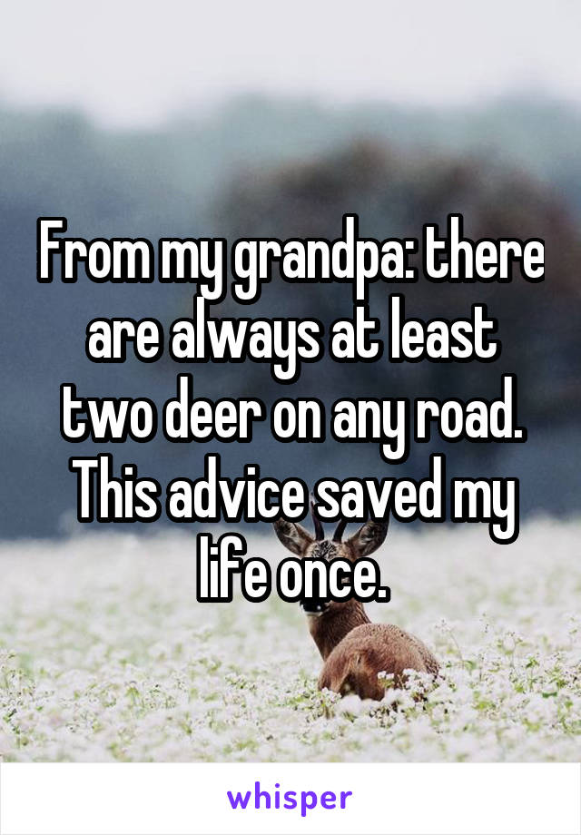 From my grandpa: there are always at least two deer on any road. This advice saved my life once.