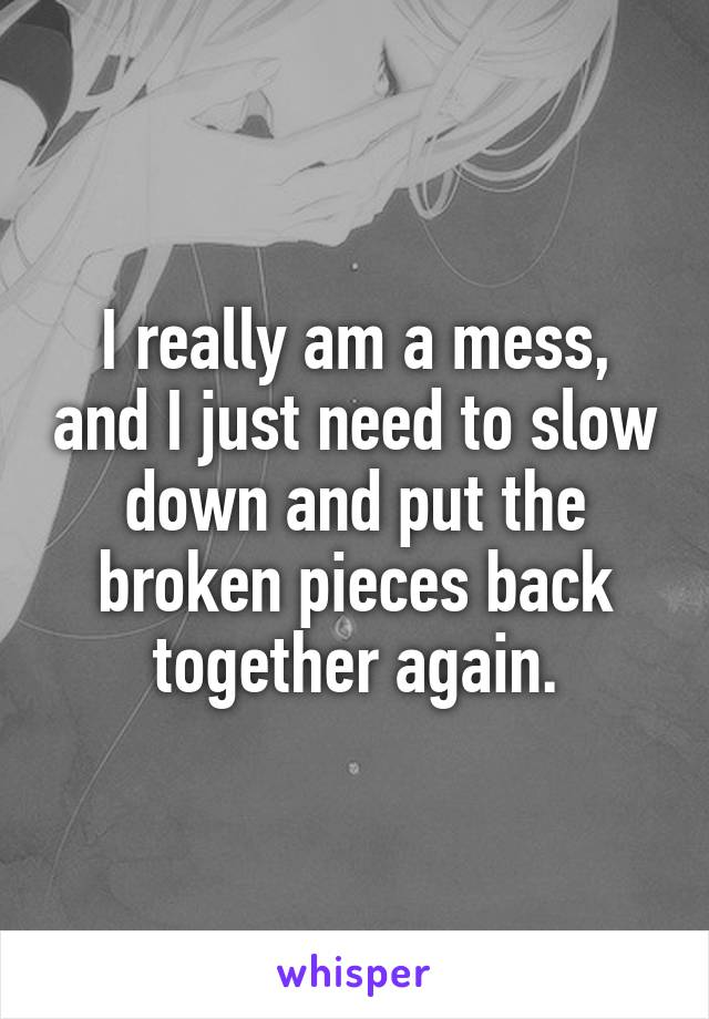 I really am a mess, and I just need to slow down and put the broken pieces back together again.