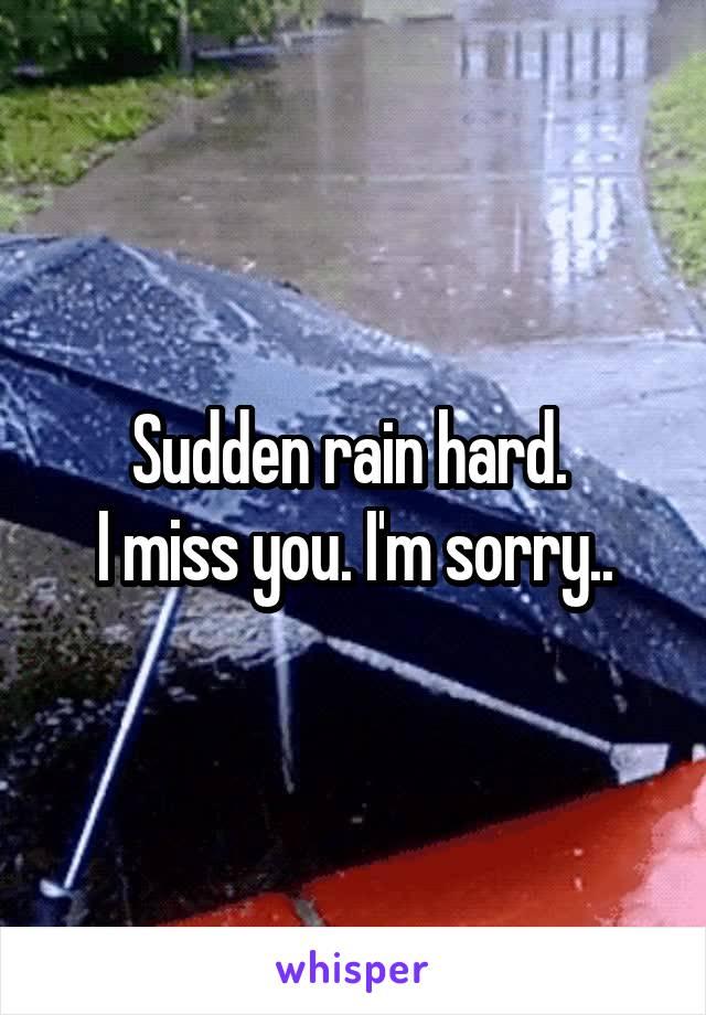 Sudden rain hard.  I miss you. I'm sorry..
