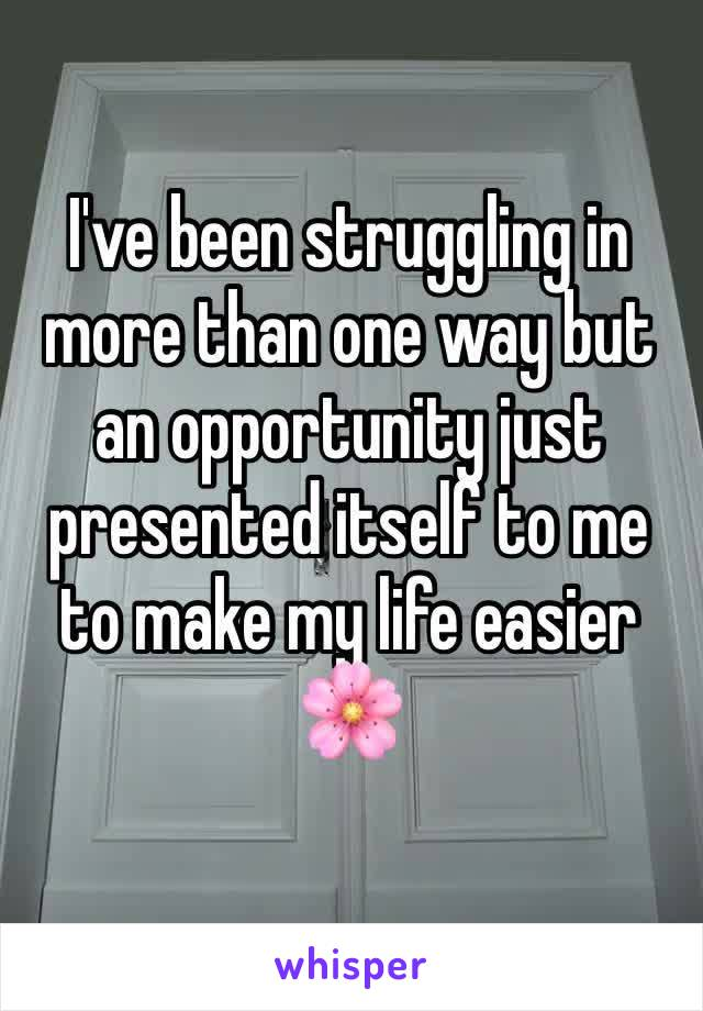 I've been struggling in more than one way but an opportunity just presented itself to me to make my life easier 🌸