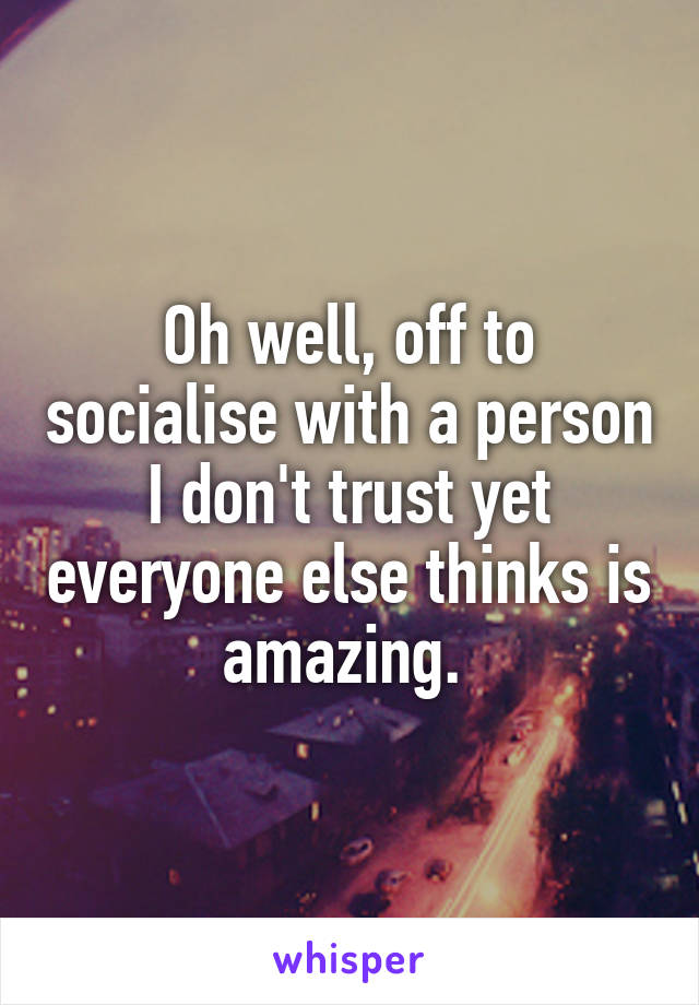 Oh well, off to socialise with a person I don't trust yet everyone else thinks is amazing.