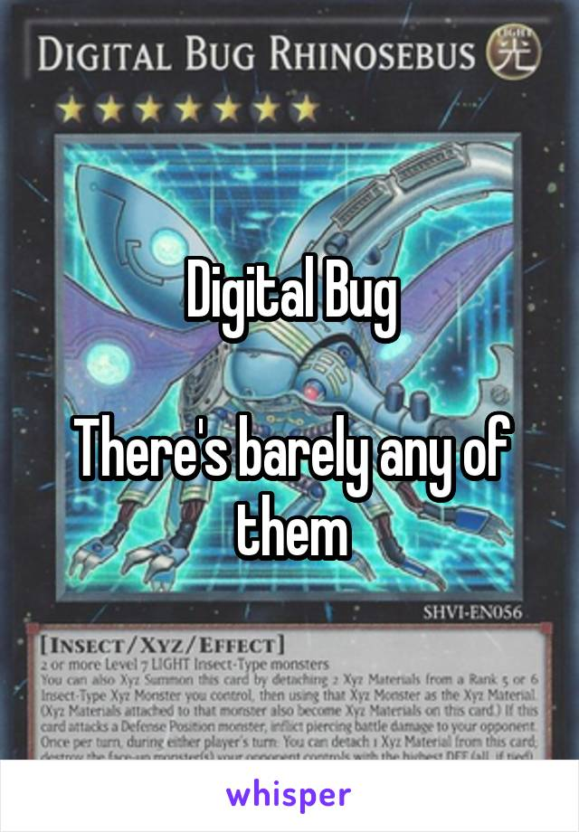 Digital Bug  There's barely any of them