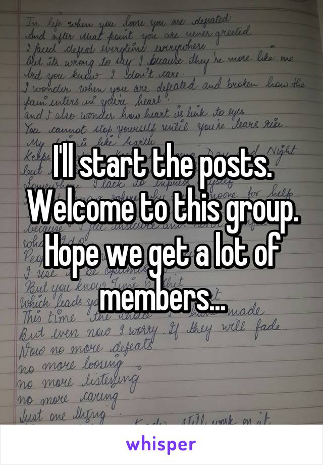 I'll start the posts. Welcome to this group. Hope we get a lot of members...