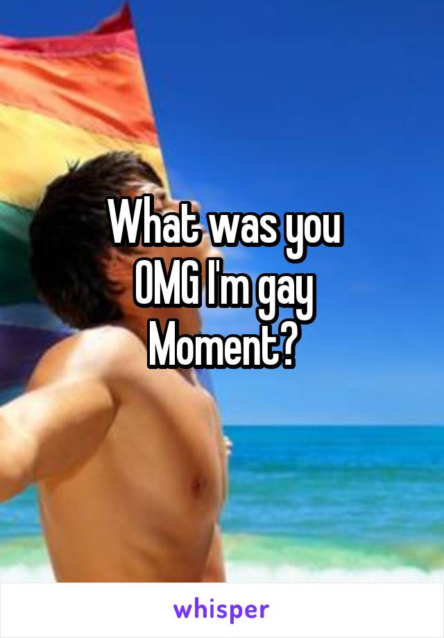 What was you OMG I'm gay Moment?