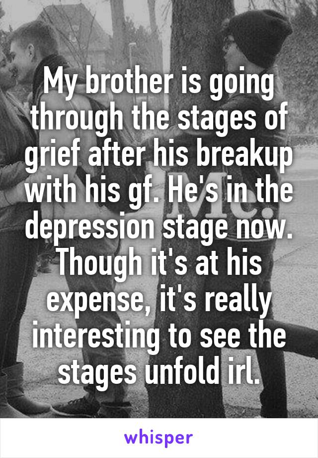 My brother is going through the stages of grief after his breakup with his gf. He's in the depression stage now. Though it's at his expense, it's really interesting to see the stages unfold irl.