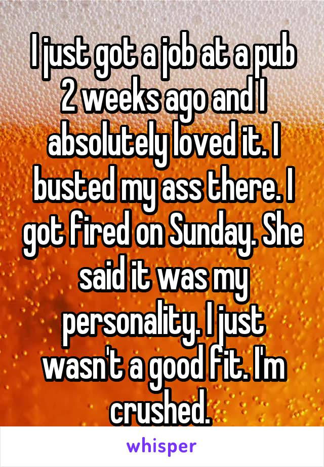 I just got a job at a pub 2 weeks ago and I absolutely loved it. I busted my ass there. I got fired on Sunday. She said it was my personality. I just wasn't a good fit. I'm crushed.