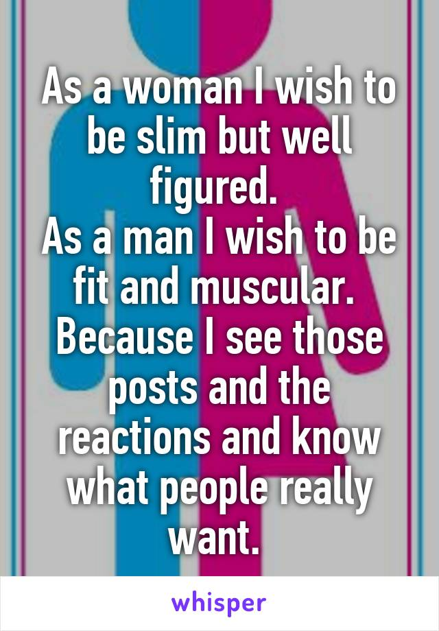 As a woman I wish to be slim but well figured.  As a man I wish to be fit and muscular.  Because I see those posts and the reactions and know what people really want.
