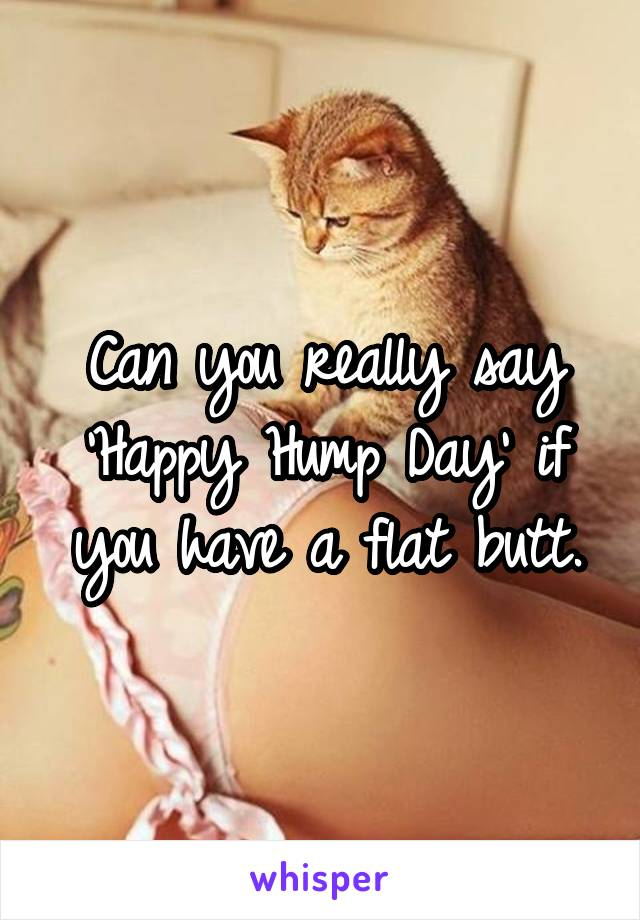 Can you really say 'Happy Hump Day' if you have a flat butt.