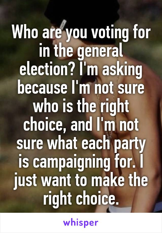 Who are you voting for in the general election? I'm asking because I'm not sure who is the right choice, and I'm not sure what each party is campaigning for. I just want to make the right choice.
