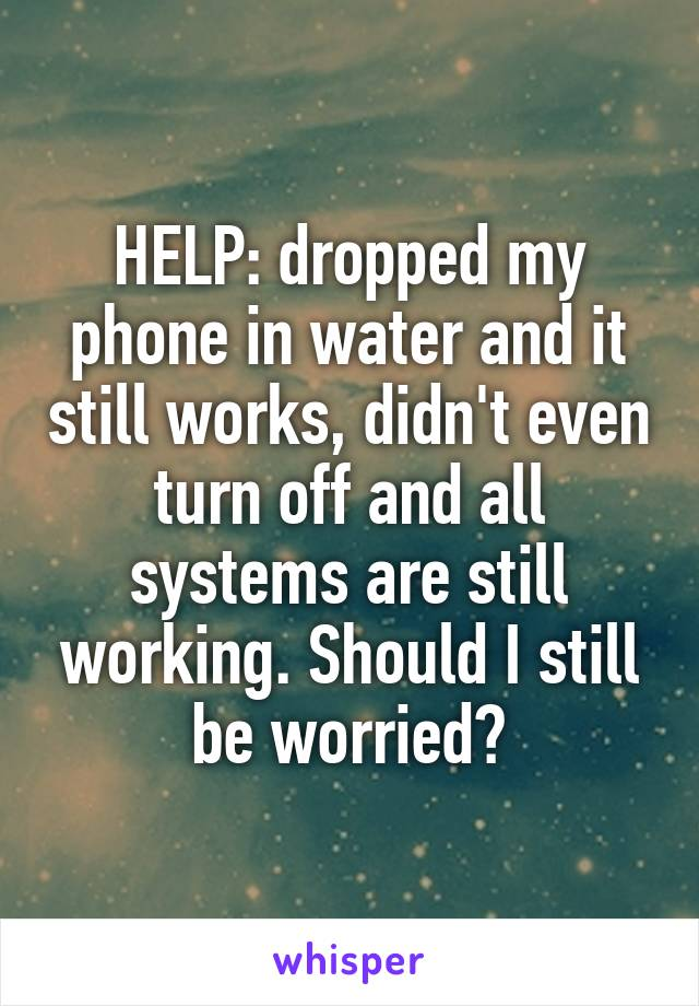 HELP: dropped my phone in water and it still works, didn't even turn off and all systems are still working. Should I still be worried?