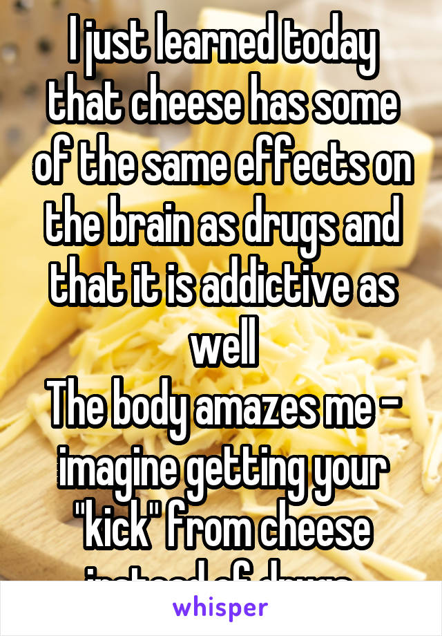 """I just learned today that cheese has some of the same effects on the brain as drugs and that it is addictive as well The body amazes me - imagine getting your """"kick"""" from cheese instead of drugs"""