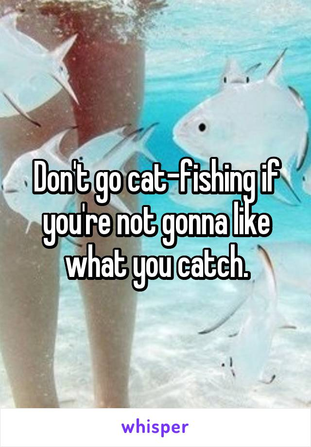 Don't go cat-fishing if you're not gonna like what you catch.