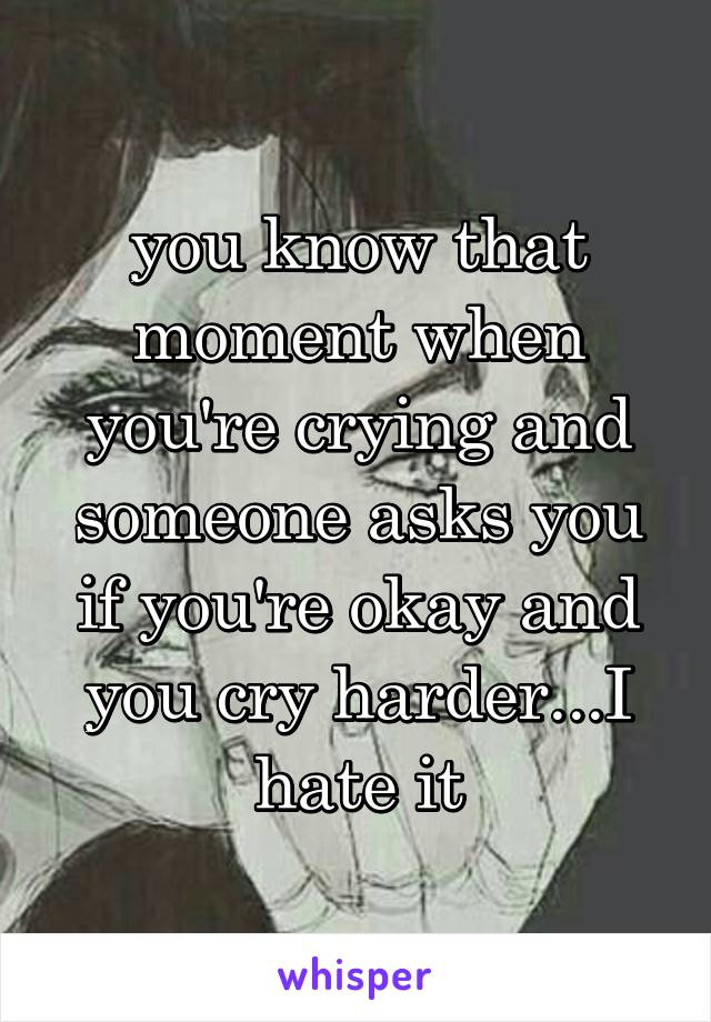you know that moment when you're crying and someone asks you if you're okay and you cry harder...I hate it
