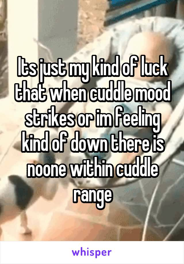 Its just my kind of luck that when cuddle mood strikes or im feeling kind of down there is noone within cuddle range
