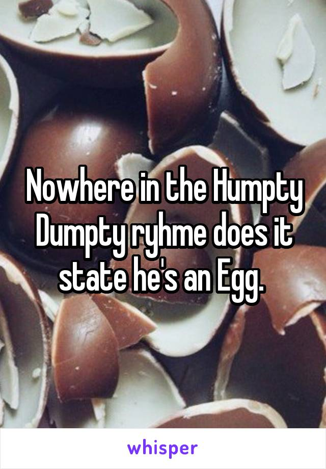 Nowhere in the Humpty Dumpty ryhme does it state he's an Egg.