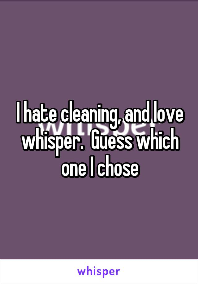 I hate cleaning, and love whisper.  Guess which one I chose