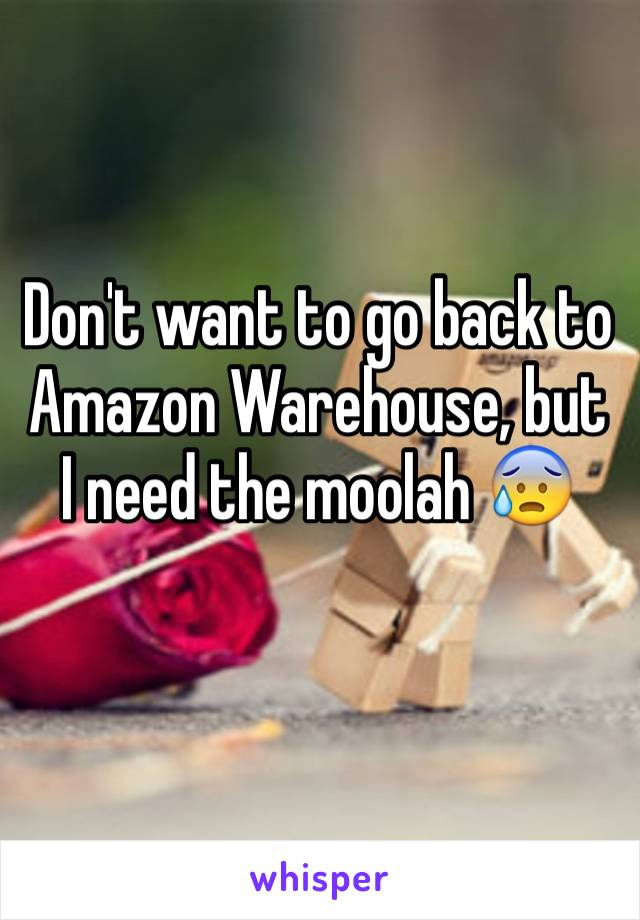 Don't want to go back to Amazon Warehouse, but I need the moolah 😰