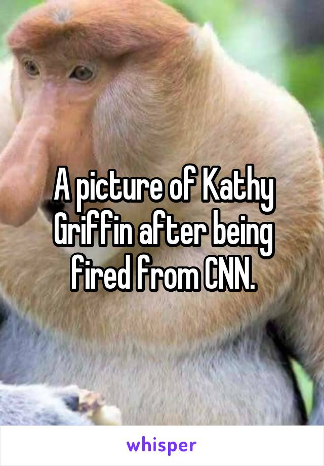 A picture of Kathy Griffin after being fired from CNN.