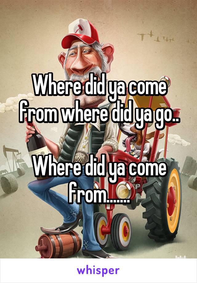 Where did ya come from where did ya go..  Where did ya come from.......