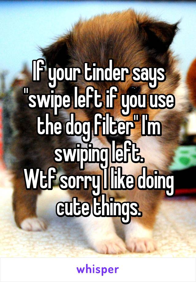 """If your tinder says """"swipe left if you use the dog filter"""" I'm swiping left. Wtf sorry I like doing cute things."""