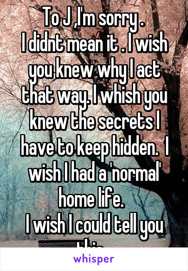 To J ,I'm sorry .  I didnt mean it . I wish you knew why I act that way. I whish you knew the secrets I have to keep hidden.  I wish I had a 'normal' home life.   I wish I could tell you this...