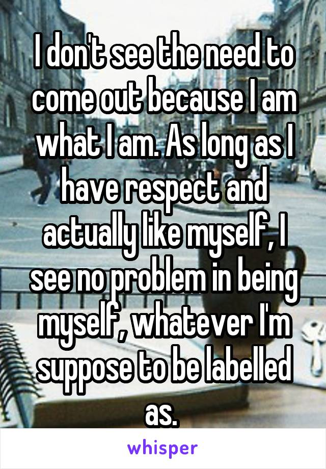 I don't see the need to come out because I am what I am. As long as I have respect and actually like myself, I see no problem in being myself, whatever I'm suppose to be labelled as.