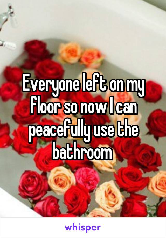 Everyone left on my floor so now I can peacefully use the bathroom
