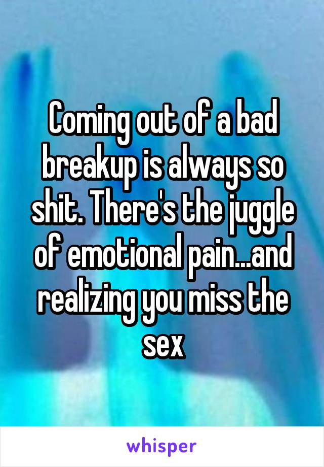 Coming out of a bad breakup is always so shit. There's the juggle of emotional pain...and realizing you miss the sex