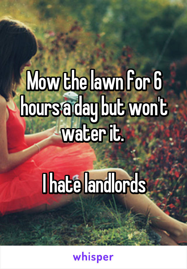 Mow the lawn for 6 hours a day but won't water it.   I hate landlords