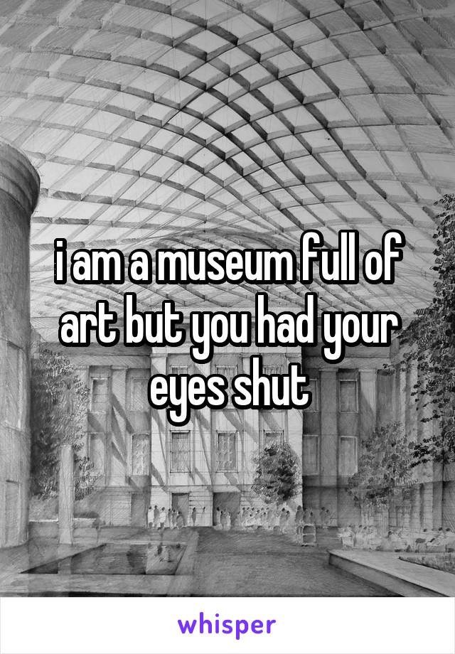 i am a museum full of art but you had your eyes shut