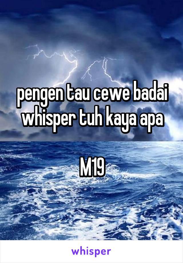 pengen tau cewe badai whisper tuh kaya apa  M19