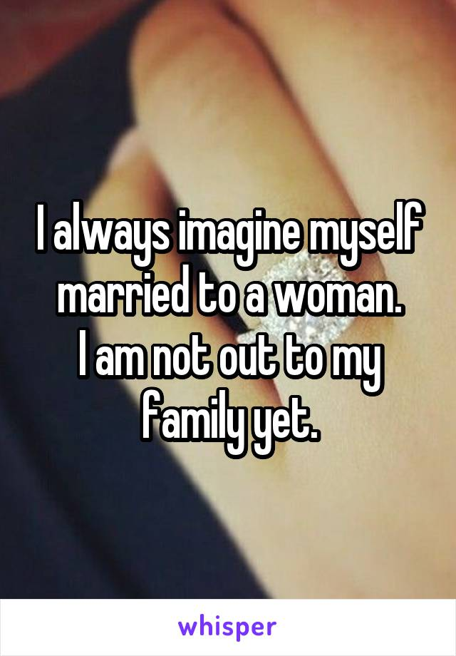 I always imagine myself married to a woman. I am not out to my family yet.