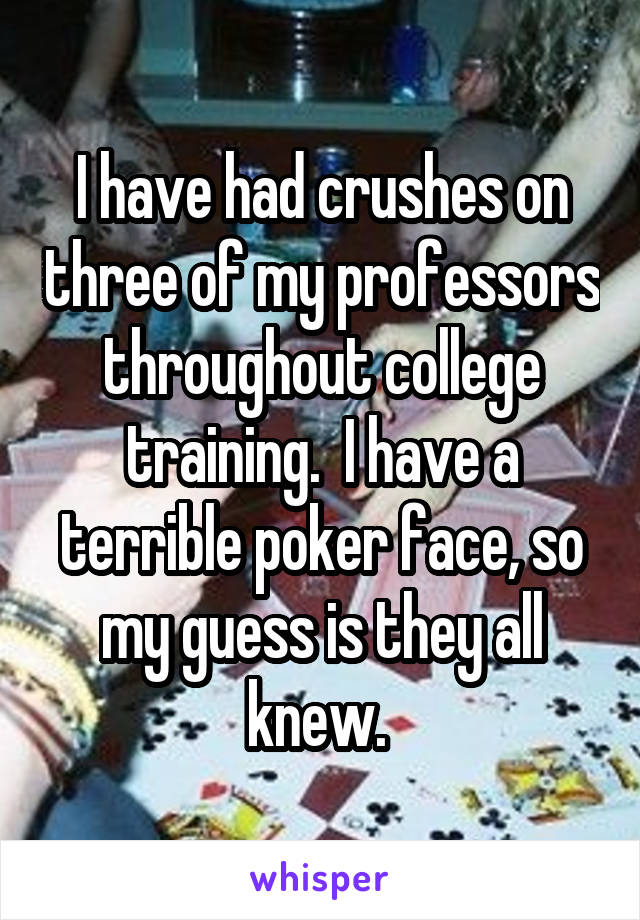 I have had crushes on three of my professors throughout college training.  I have a terrible poker face, so my guess is they all knew.
