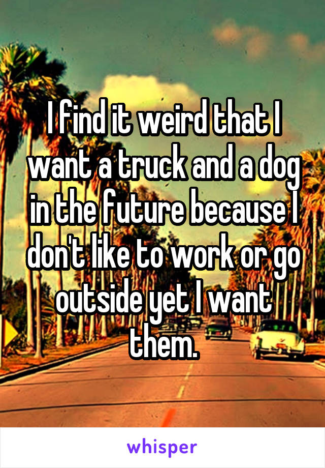 I find it weird that I want a truck and a dog in the future because I don't like to work or go outside yet I want them.