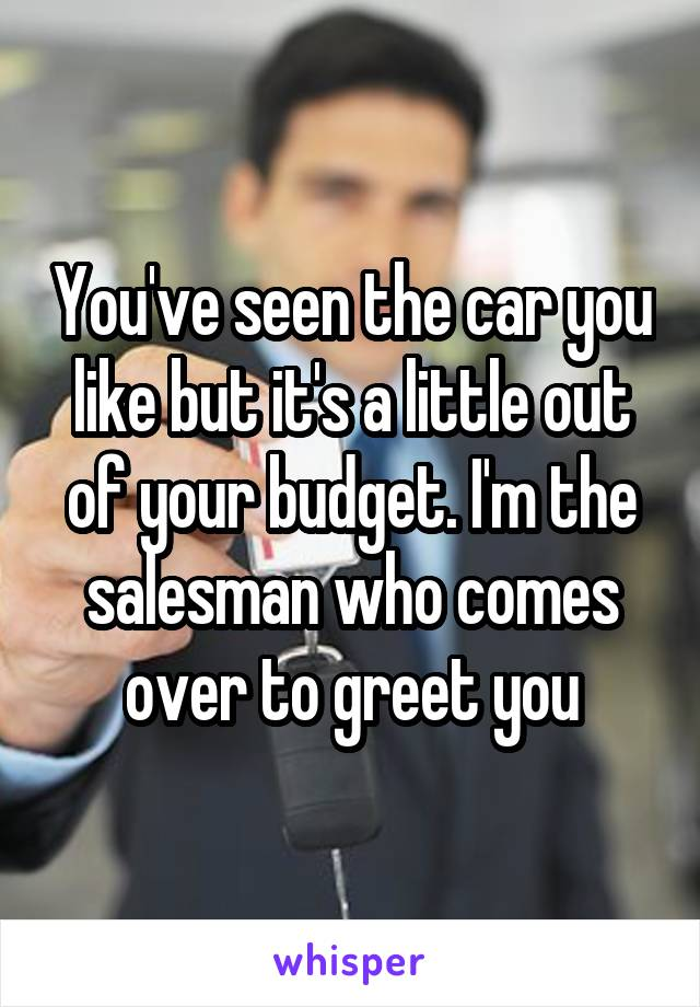 You've seen the car you like but it's a little out of your budget. I'm the salesman who comes over to greet you