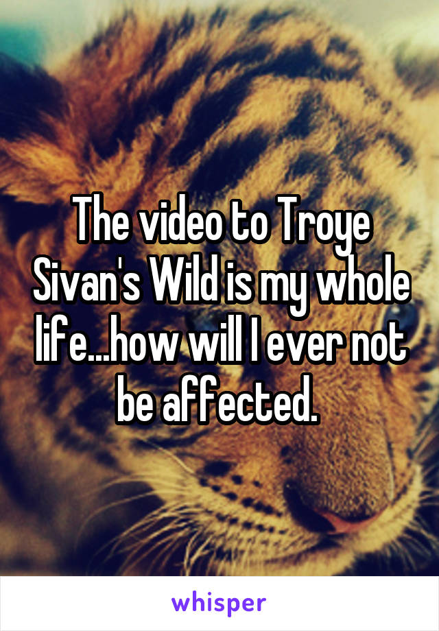 The video to Troye Sivan's Wild is my whole life...how will I ever not be affected.