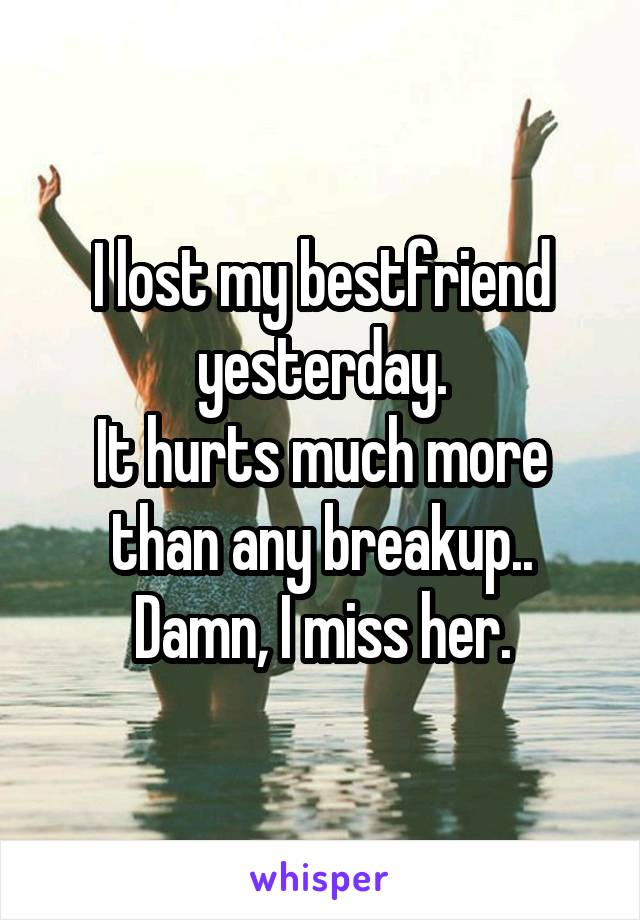 I lost my bestfriend yesterday. It hurts much more than any breakup.. Damn, I miss her.