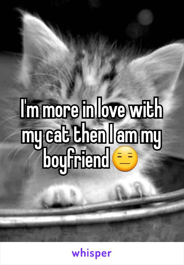 I'm more in love with my cat then I am my boyfriend😑