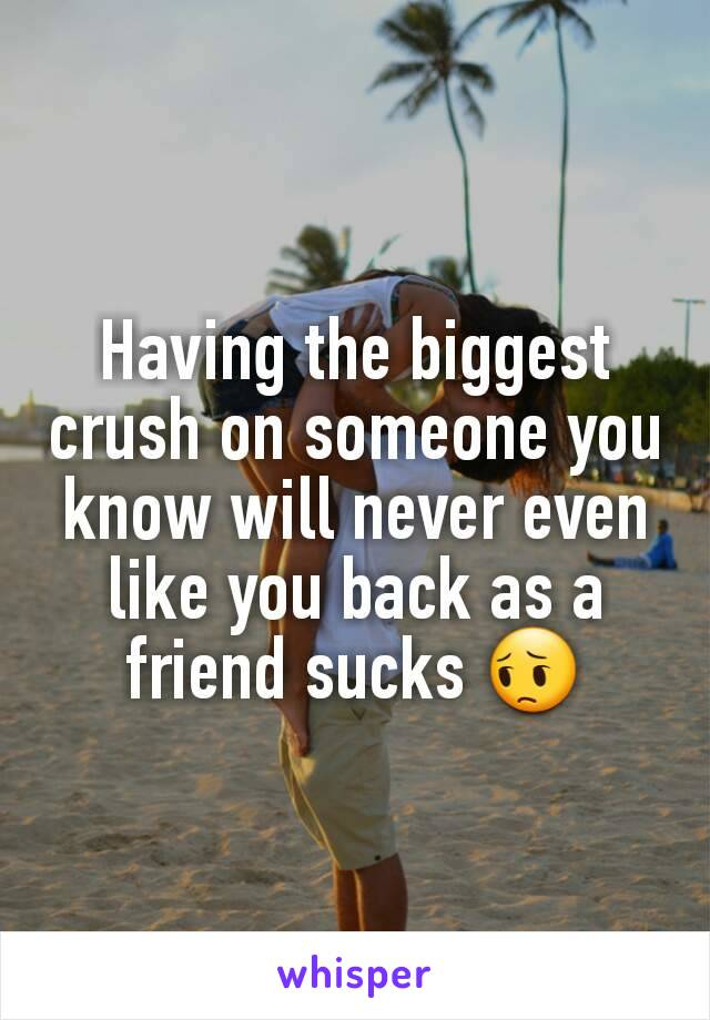 Having the biggest crush on someone you know will never even like you back as a friend sucks 😔