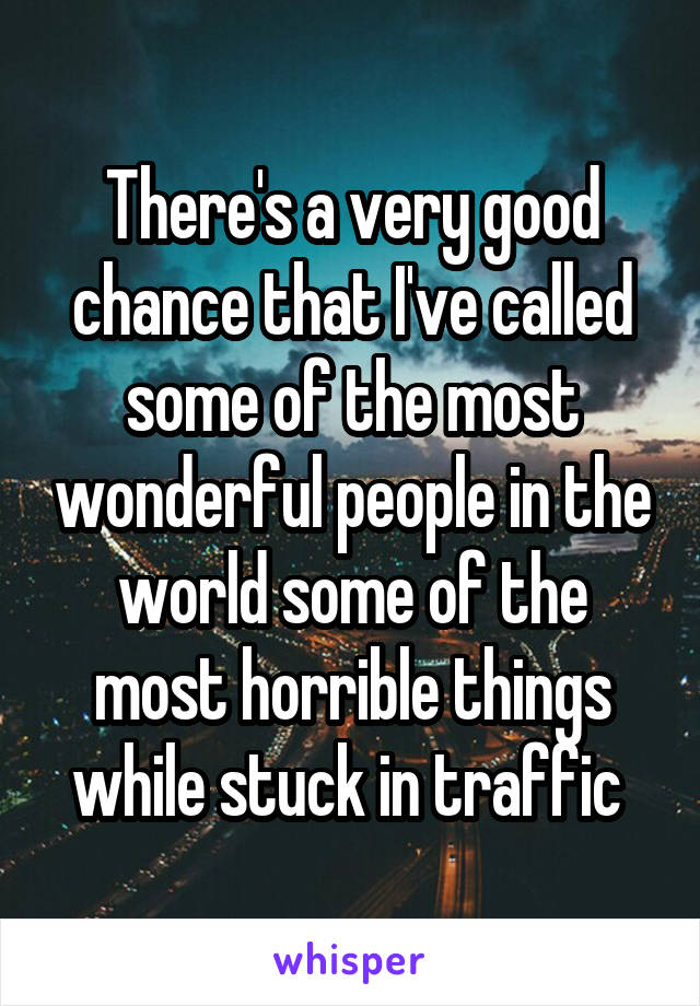 There's a very good chance that I've called some of the most wonderful people in the world some of the most horrible things while stuck in traffic