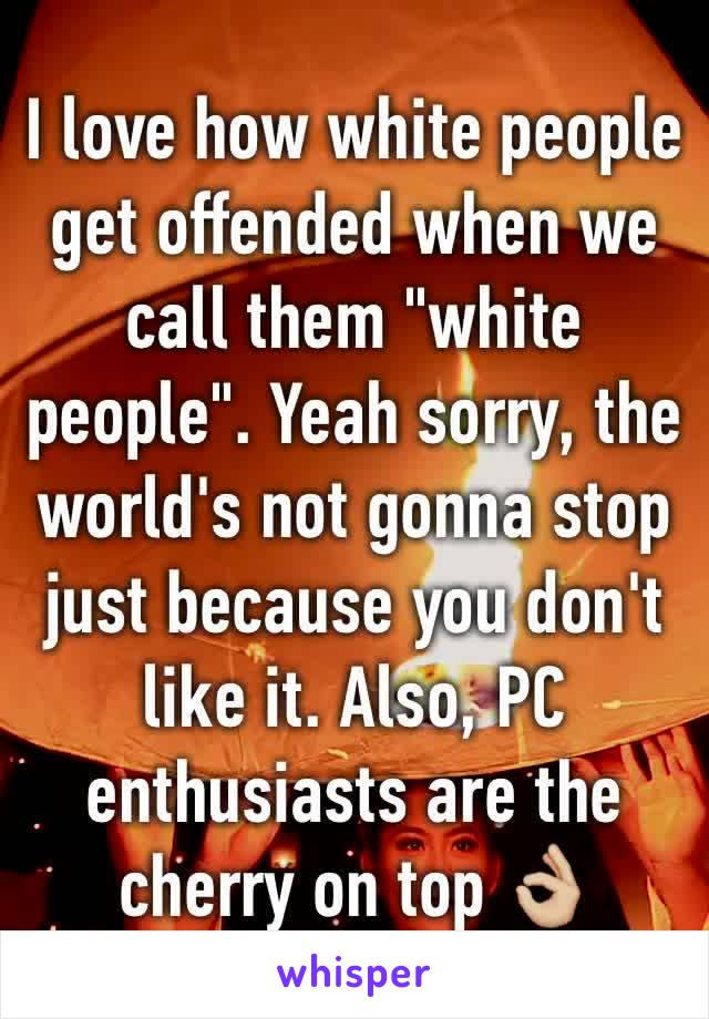 """I love how white people get offended when we call them """"white people"""". Yeah sorry, the world's not gonna stop just because you don't like it. Also, PC enthusiasts are the cherry on top 👌🏼"""