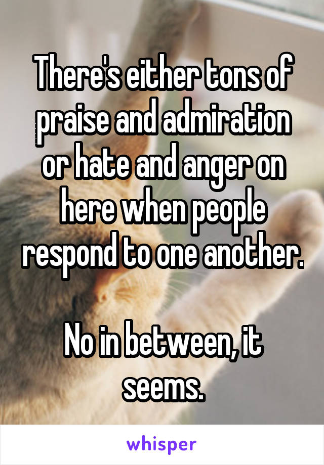 There's either tons of praise and admiration or hate and anger on here when people respond to one another.  No in between, it seems.