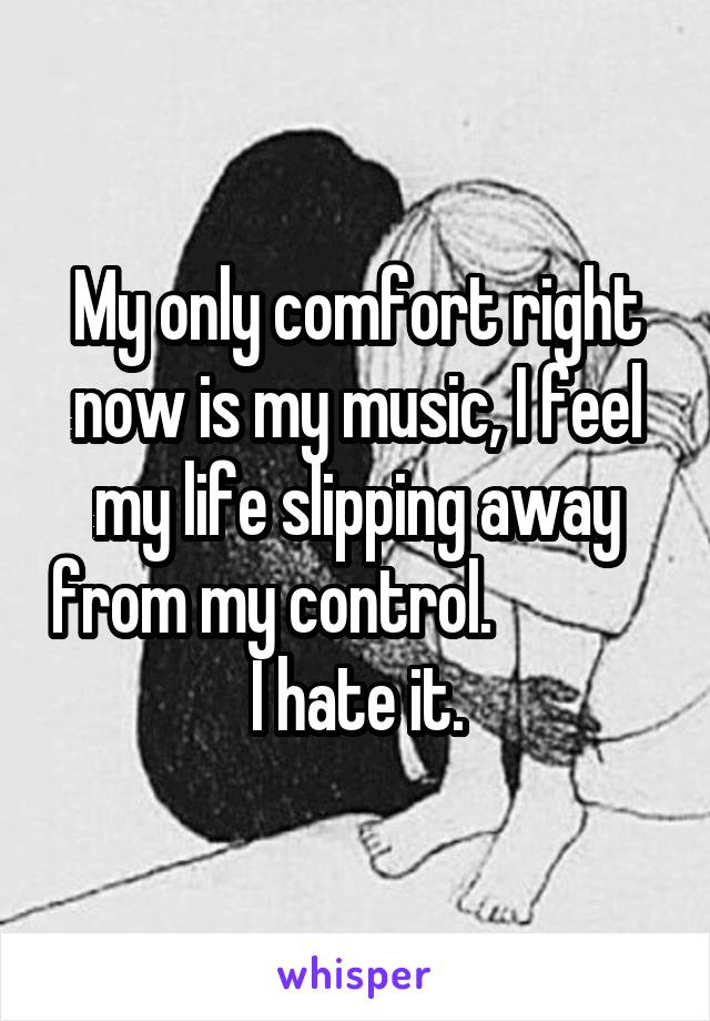 My only comfort right now is my music, I feel my life slipping away from my control.              I hate it.