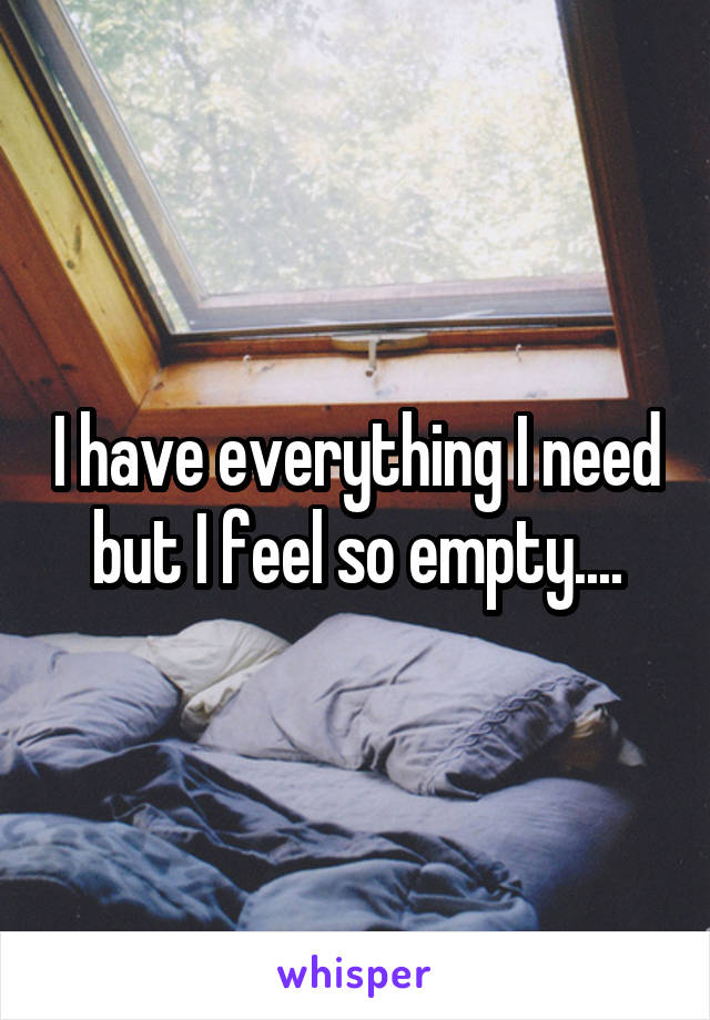 I have everything I need but I feel so empty....