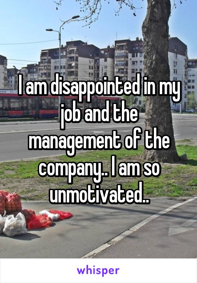 I am disappointed in my job and the management of the company.. I am so unmotivated..