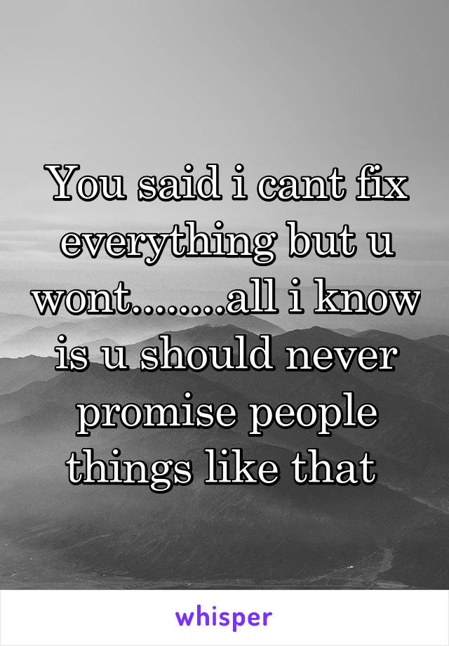 You said i cant fix everything but u wont........all i know is u should never promise people things like that