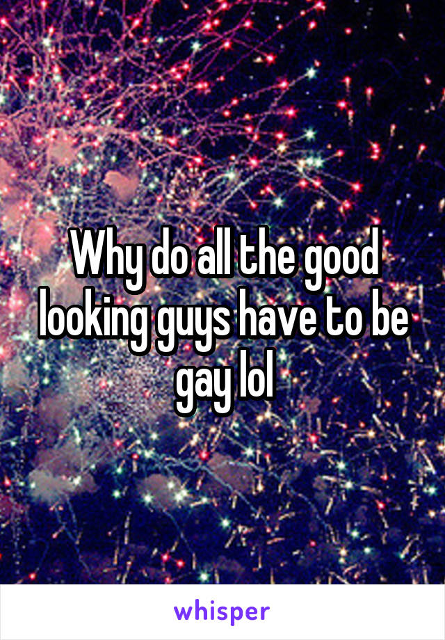 Why do all the good looking guys have to be gay lol