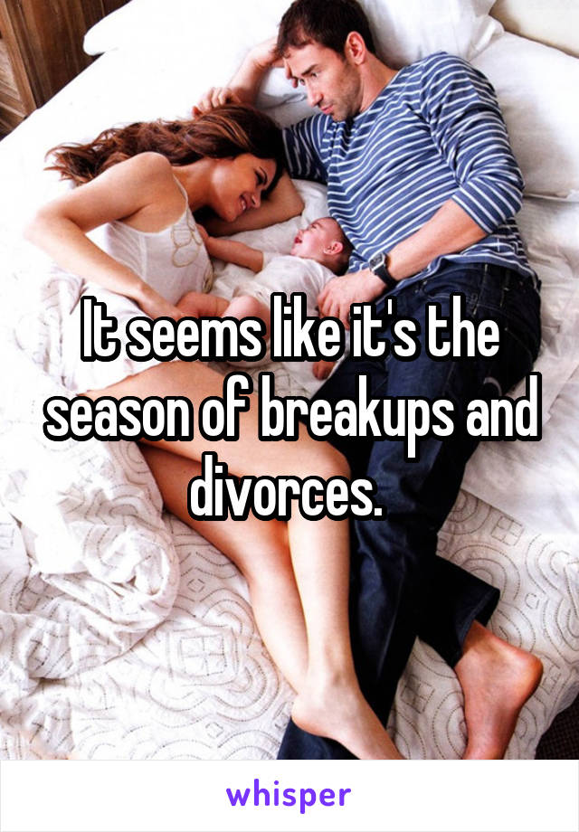 It seems like it's the season of breakups and divorces.